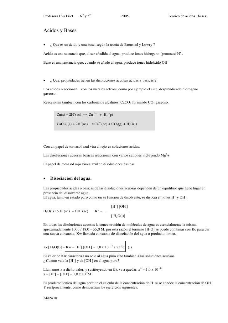 Profesora Eva Friet     6to y 5to                   2005                           Teorico de acidos . bases   Acidos y Ba...