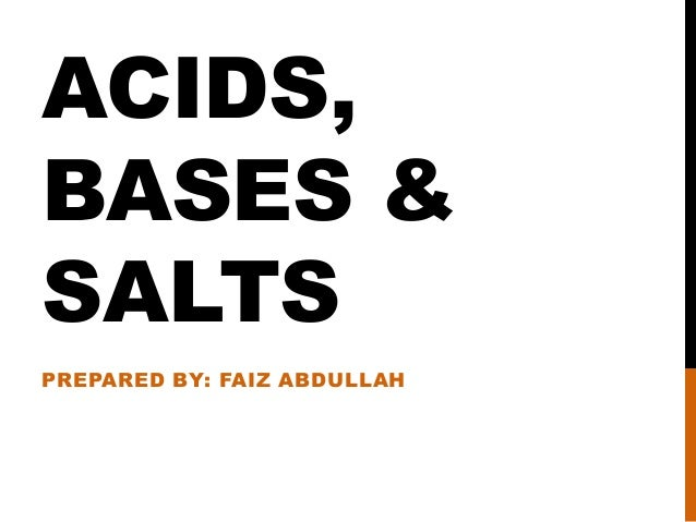 Acids, Bases and Salts (Chemistry 'O' level)