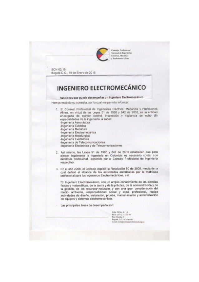 FUNCIONES DEL INGENIERO  ELECTROMECÁNICO