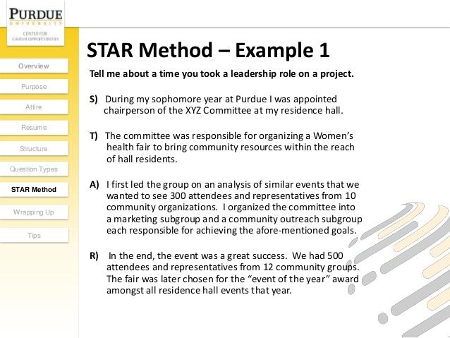 Star method resume examples