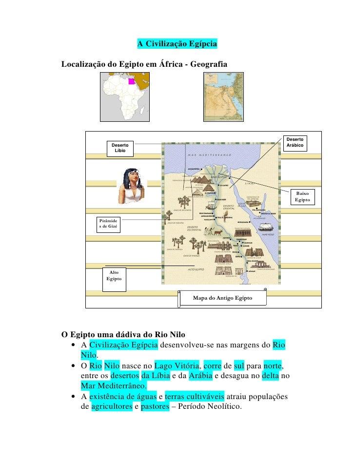 A Civilização Egípcia  Localização do Egipto em África - Geografia                                                        ...