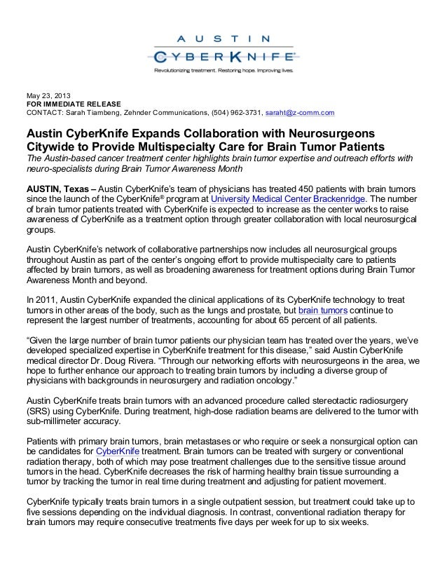 Austin CyberKnife Expands Collaboration with Neurosurgeons Citywide to Provide Multispecialty Care for Brain Tumor Patients