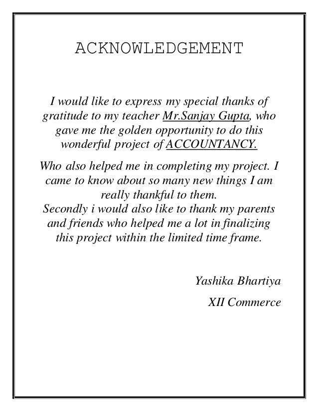 Acknowledgement of dissertation