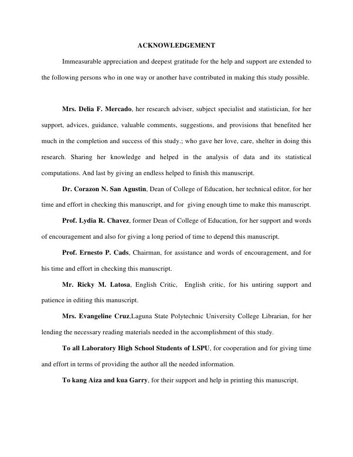 acknowledgement sample dissertation