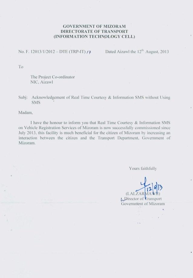 Acknowledgement Letter