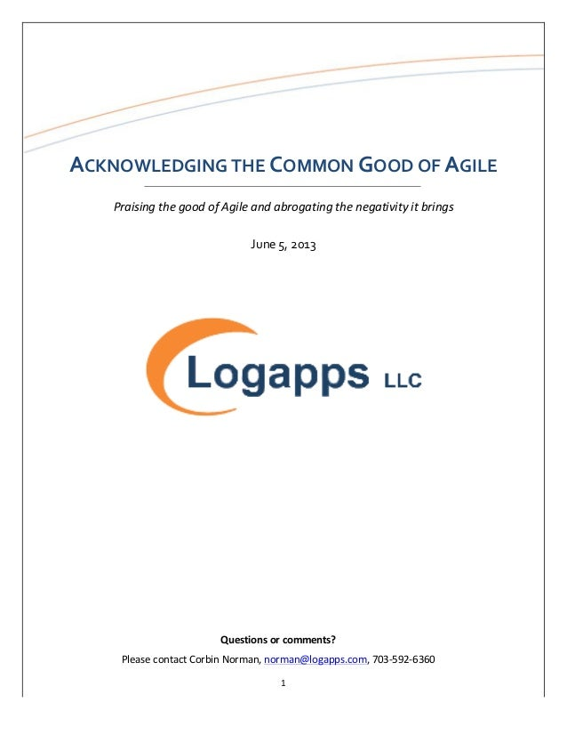 Acknowledging The Common Good of Agile