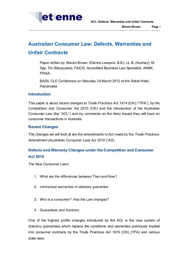 Australian Consumer Law: defects, warranties and unfair contracts basil 120324