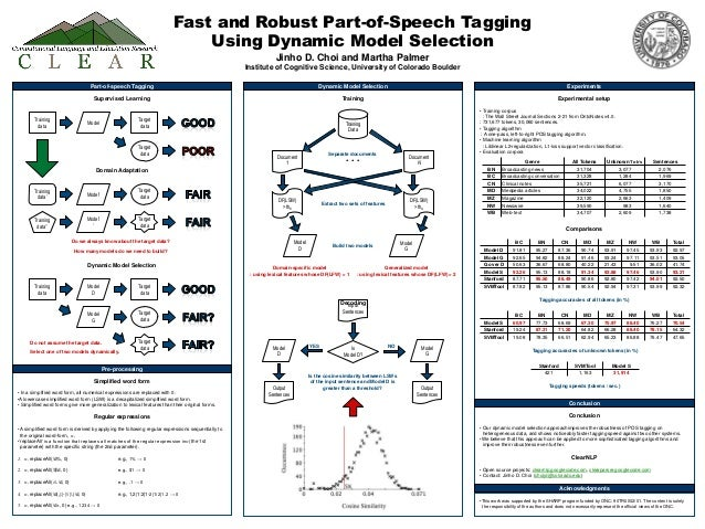 Fast and Robust Part-of-Speech Tagging Using Dynamic Model Selection Jinho D. Choi and Martha Palmer Institute of Cognitiv...