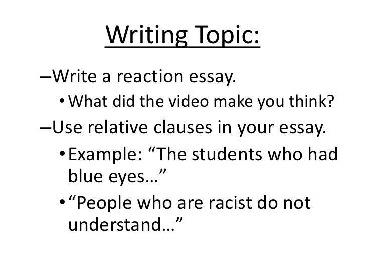Write my reaction essay