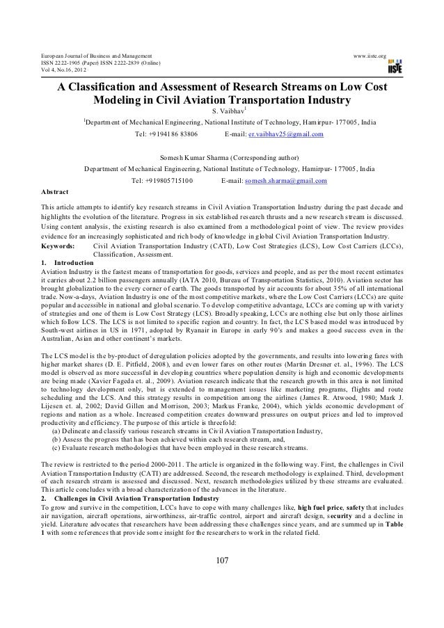 A classification and assessment of research streams on low cost modeling in civil aviation transportation industry