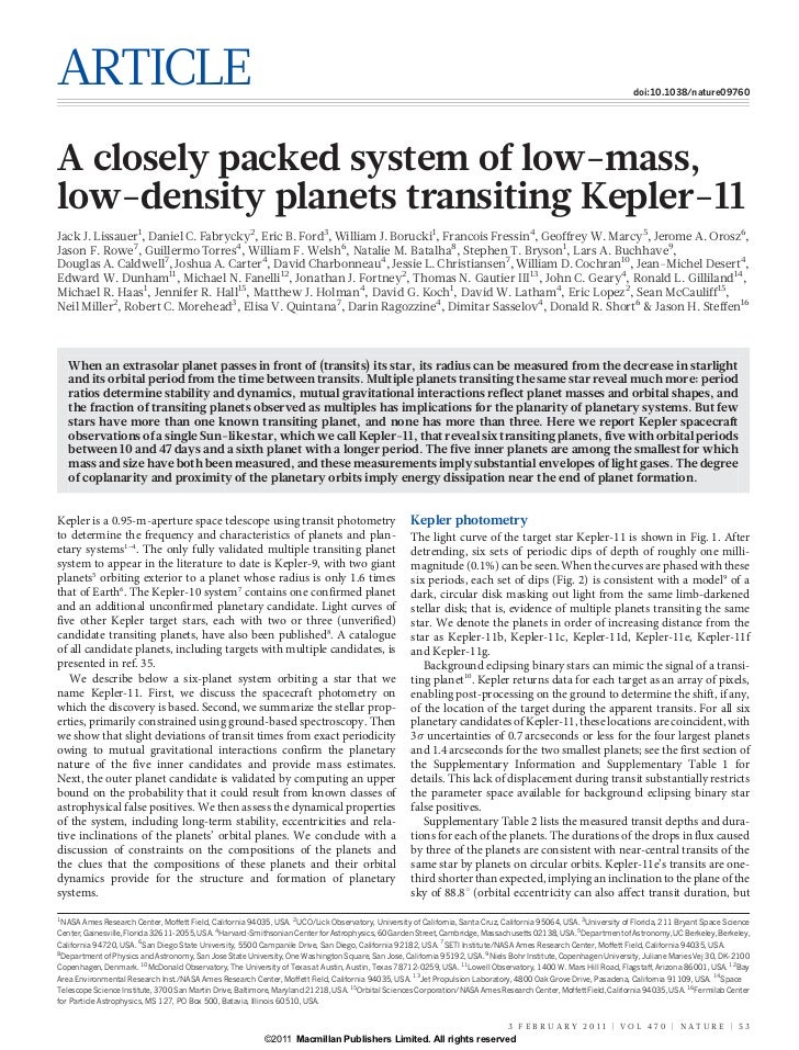 A closely packed system of low mass, low-density planets transiting kepler-11