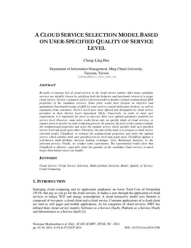 A Cloud Service Selection Model Based on User-Specified Quality of Service Level
