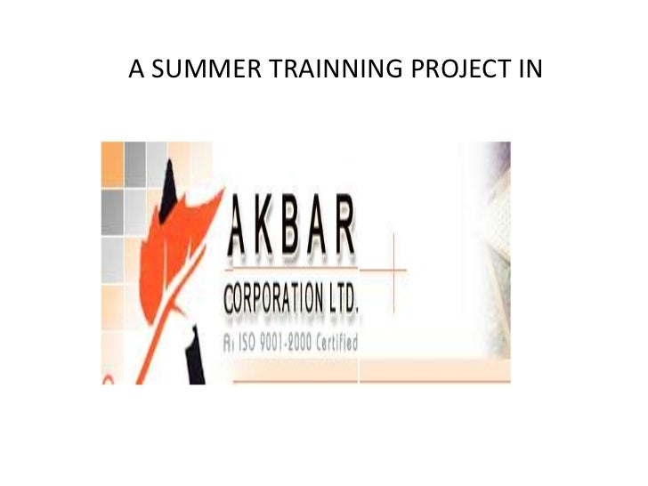 A SUMMER TRAINNING PROJECT IN<br /> <br /> <br /> <br />