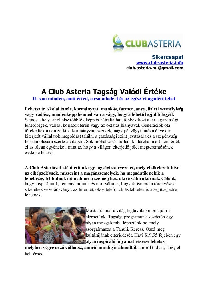 Club Asteria Tagság