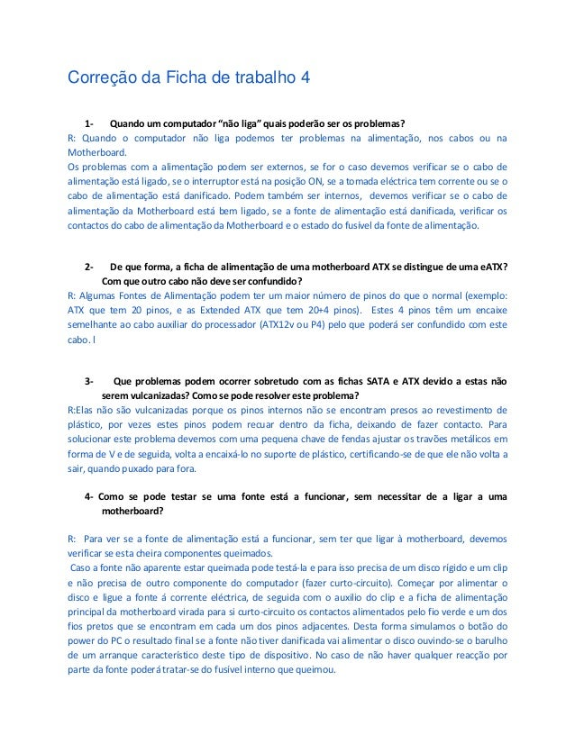 correção Ficha 4,5,6,e 7