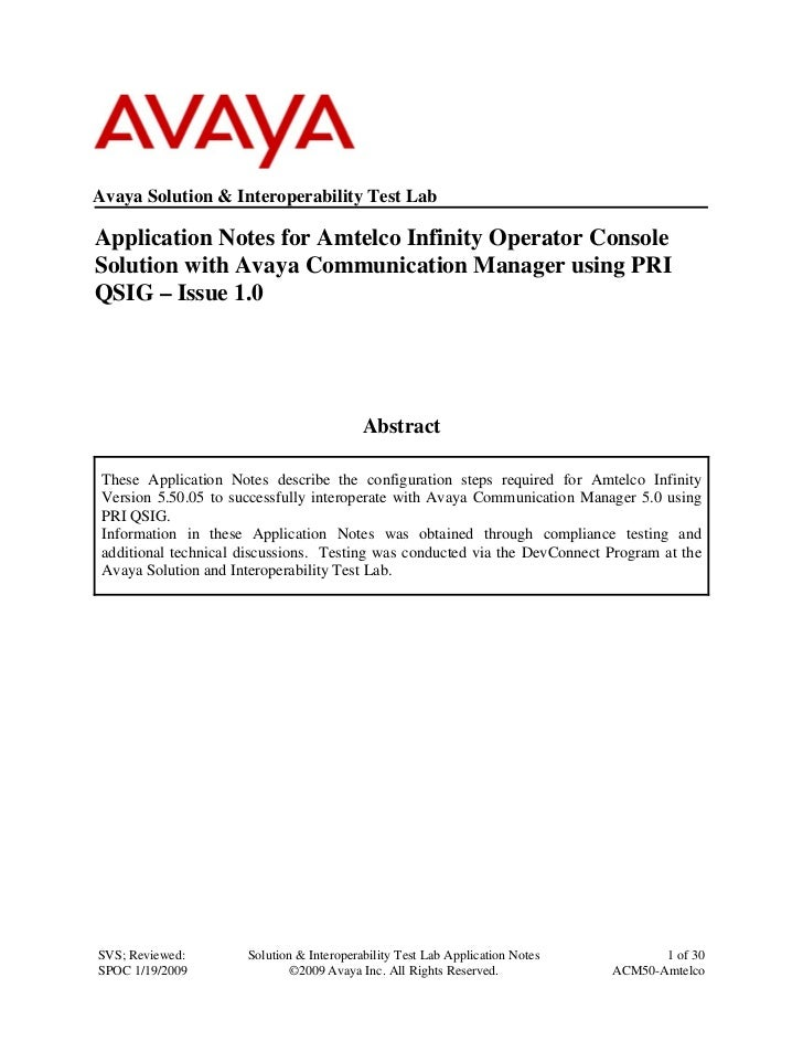 Avaya AMTELCO Infinity Operator Console integration notes