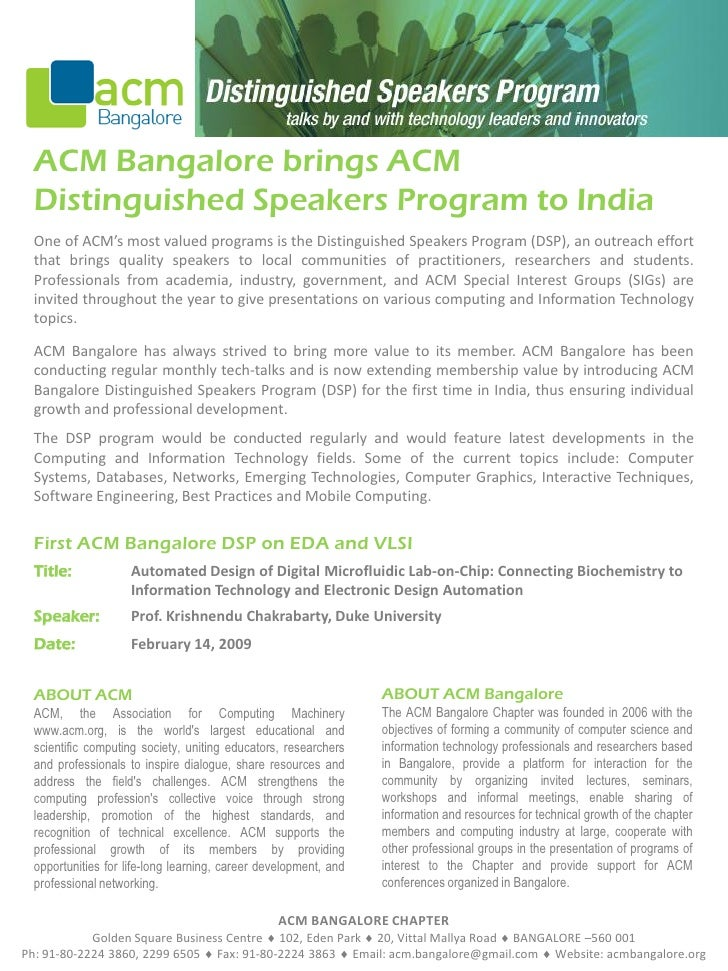 ACM Bangalore brings ACM   Distinguished Speakers Program to India   One of ACM's most valued programs is the Distinguishe...