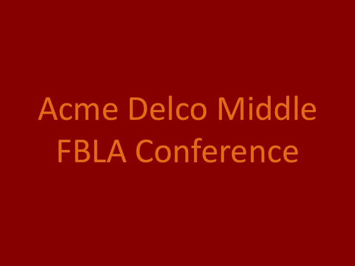 Acme Delco Middle FBLA Conference