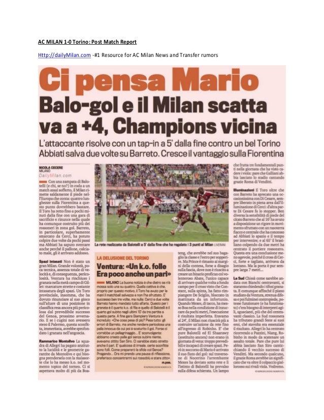 AC Milan 1-0 Torino Match Report