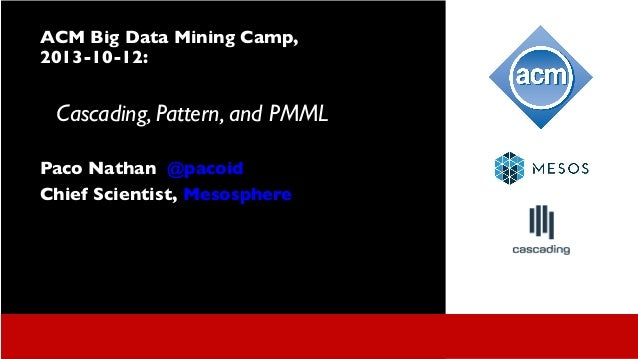ACM Bay Area Data Mining Workshop: Pattern, PMML, Hadoop