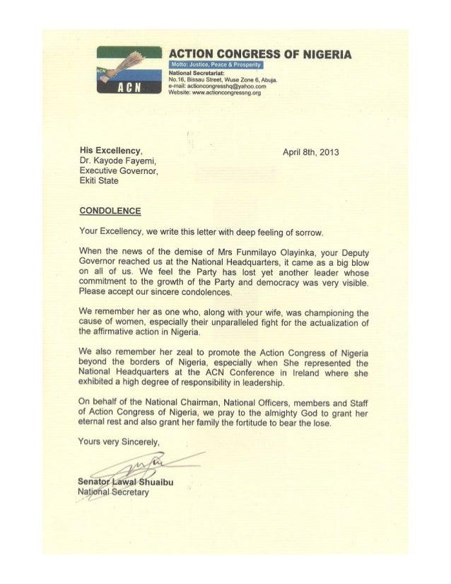 ACN condolence letter