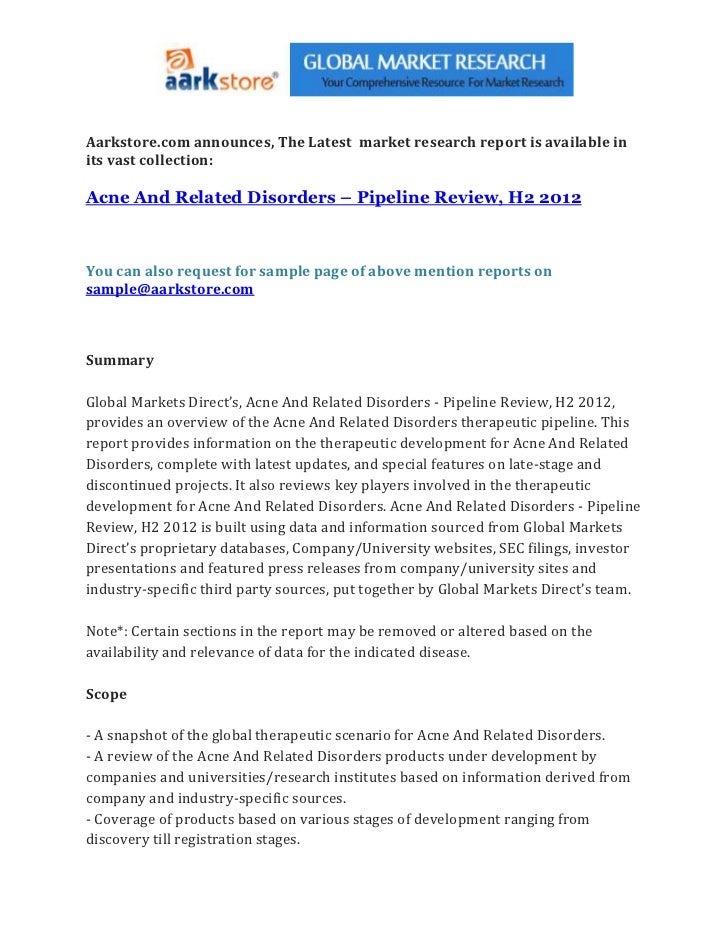 Acne and related disorders – pipeline review, h2 2012