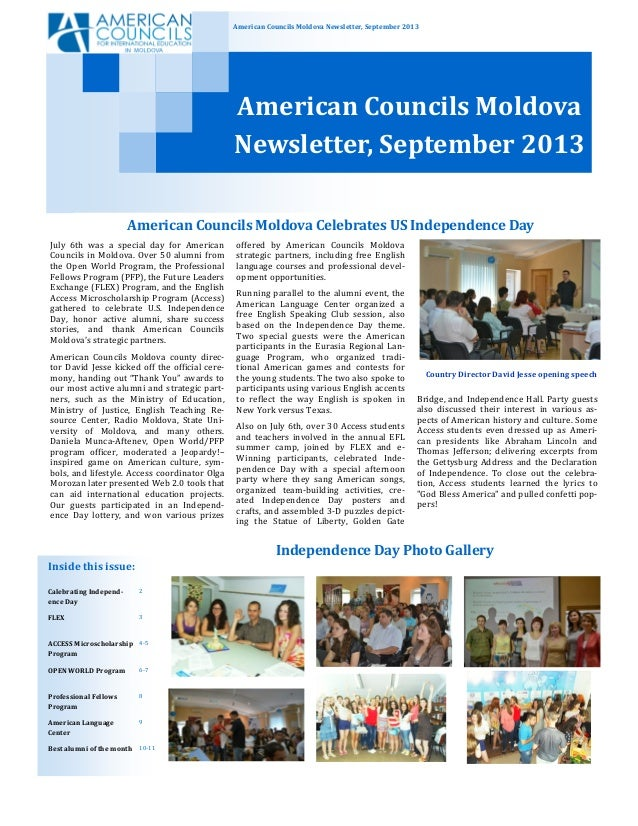 American Councils Moldova Newsletter, September 2013 American Councils Moldova Newsletter, September 2013 Bridge, and Inde...