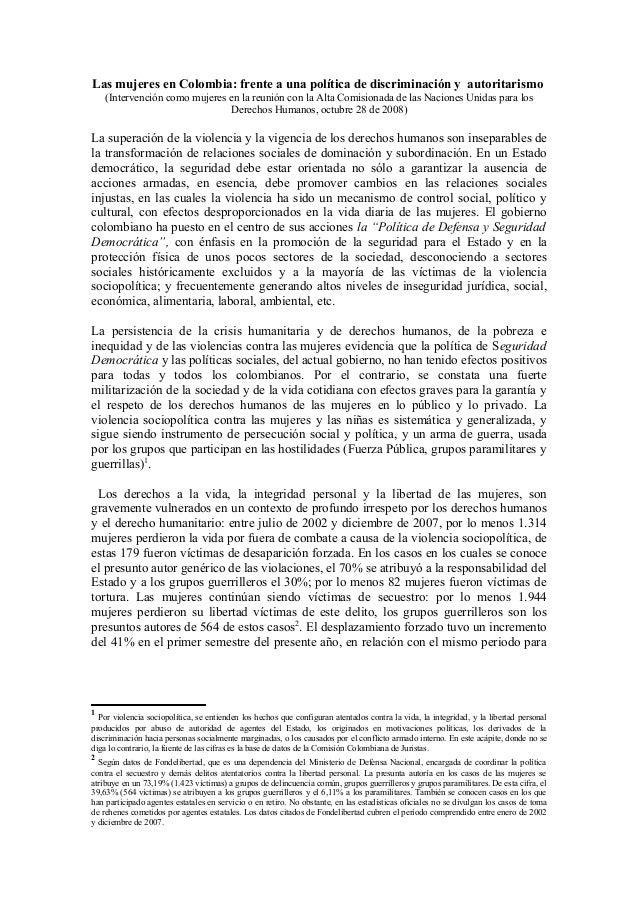 Las mujeres en Colombia: frente a una política de discriminación y autoritarismo    (Intervención como mujeres en la reuni...