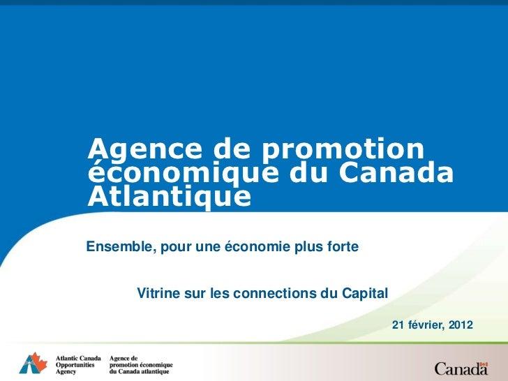 Agence de promotionéconomique du CanadaAtlantiqueEnsemble, pour une économie plus forte       Vitrine sur les connections ...