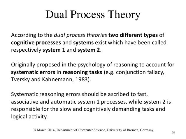 dual process model Dual process theory is the idea that the human mind has two disparate modes of thinking - subconscious intuitive understanding on one hand and conscious logical reasoning on the other.