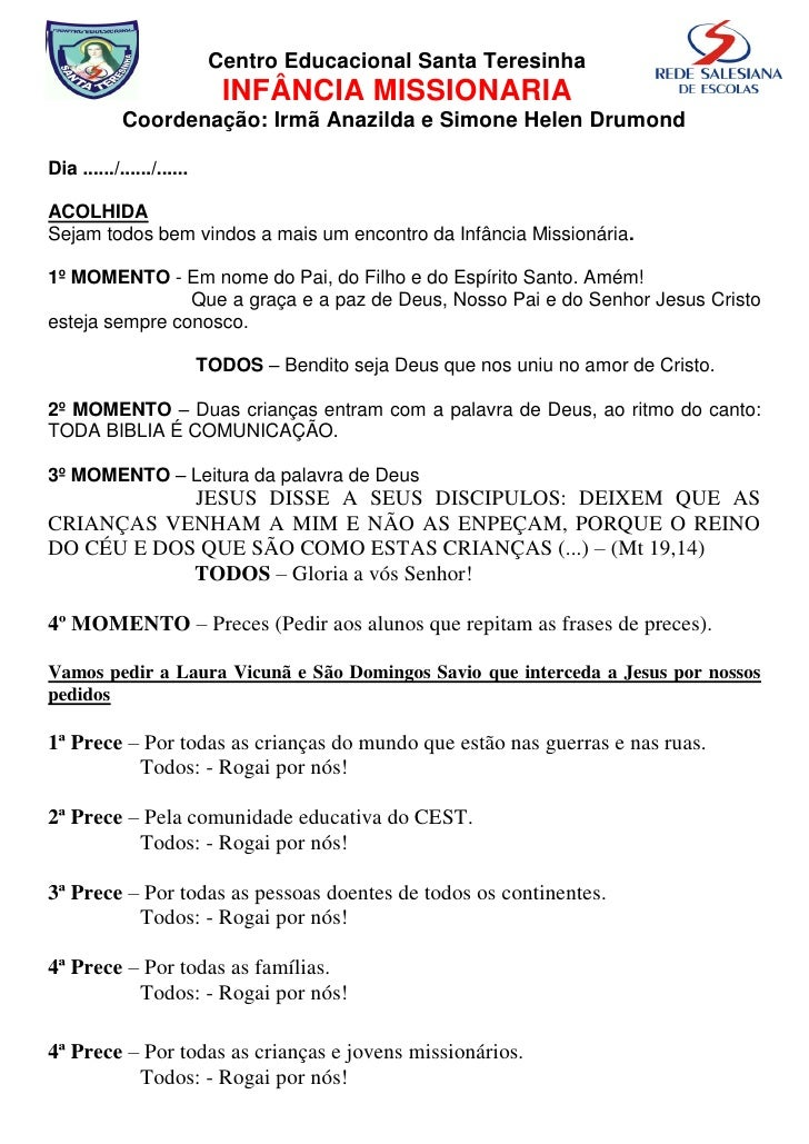 Centro Educacional Santa Teresinha                              INFÂNCIA MISSIONARIA             Coordenação: Irmã Anazild...