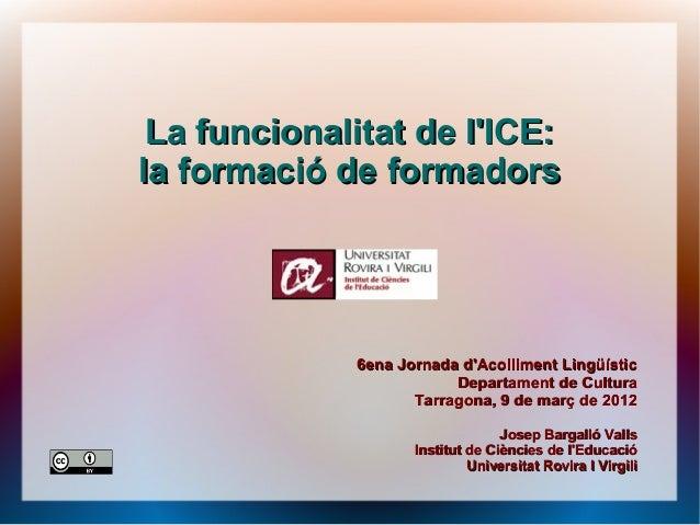 La funcionalitat de l'ICE: la formació de formadors