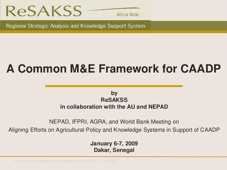 A Common M&E Framework for CAADP_2009