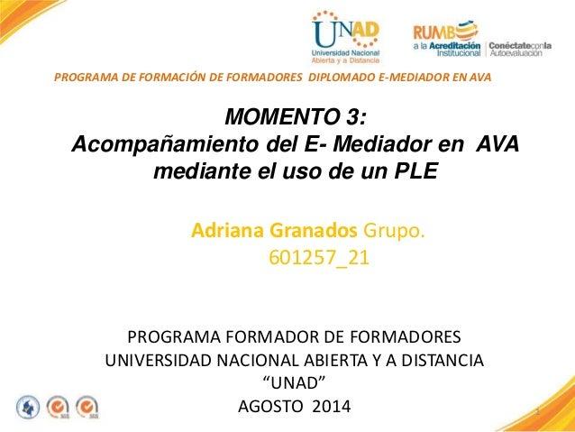 1  PROGRAMA DE FORMACIÓN DE FORMADORES DIPLOMADO E-MEDIADOR EN AVA  ALADOS  MOMENTO 3:  Acompañamiento del E- Mediador en ...