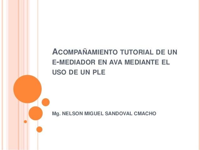 ACOMPAÑAMIENTO TUTORIAL DE UN  E-MEDIADOR EN AVA MEDIANTE EL  USO DE UN PLE  Mg. NELSON MIGUEL SANDOVAL CMACHO