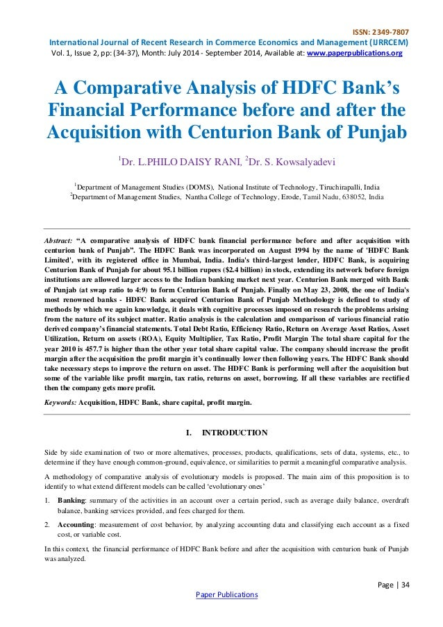 a comparative study of finance performance of banks using various ratios