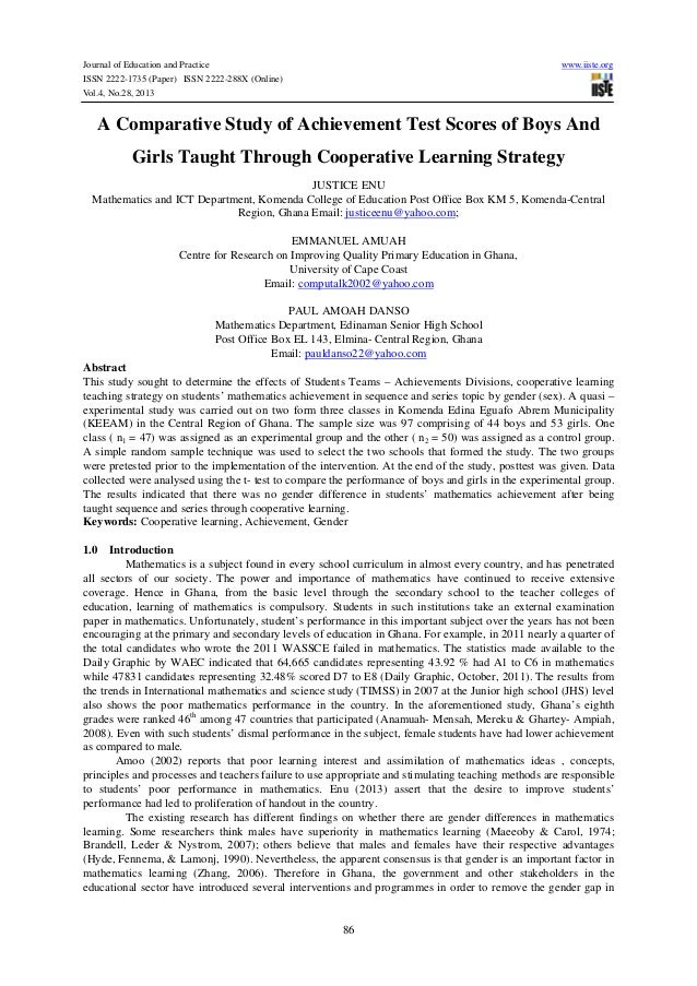 A comparative study of achievement test scores of boys and girls taught through cooperative learning strategy