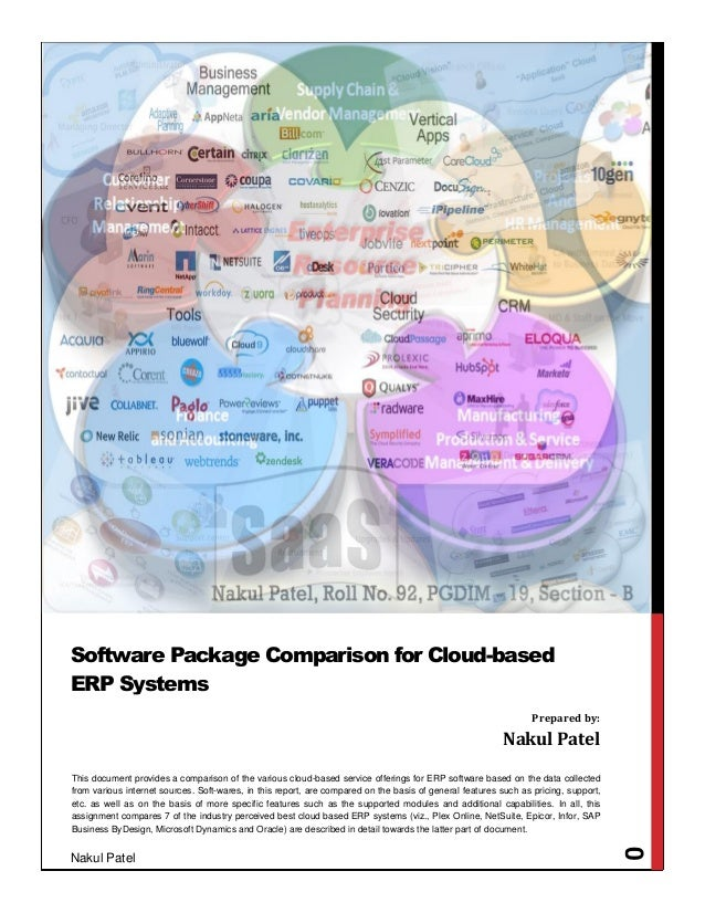 Nakul Patel 0 This document provides a comparison of the various cloud-based service offerings for ERP software based on t...