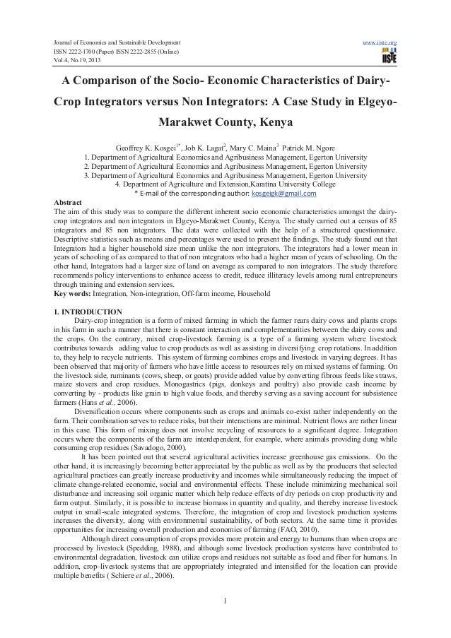 A comparison of the socio  economic characteristics of dairy-crop integrators versus non integrators