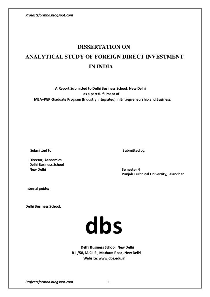 DISSERTATION ON<br />ANALYTICAL STUDY OF FOREIGN DIRECT INVESTMENT                   ...