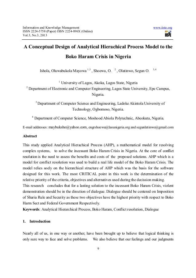A conceptual design of analytical hierachical process model to the boko haram crisis in nigeria