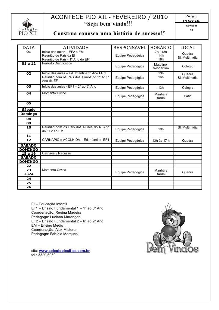 ACONTECE PIO XII - FEVEREIRO / 2010                                               Código:                                 ...