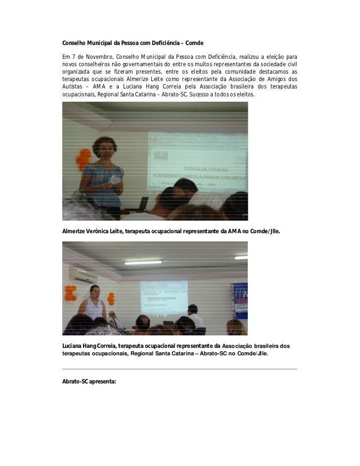 Conselho Municipal da Pessoa com Deficiência – ComdeEm 7 de Novembro, Conselho Municipal da Pessoa com Deficiência, realiz...
