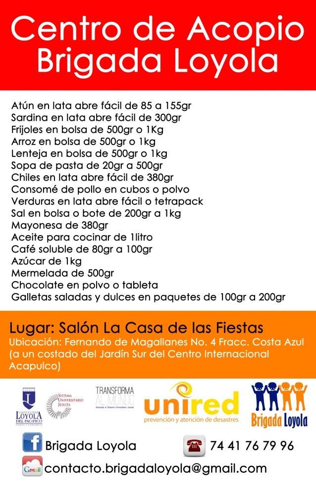 Brigada Loyola - Acopio alimentos