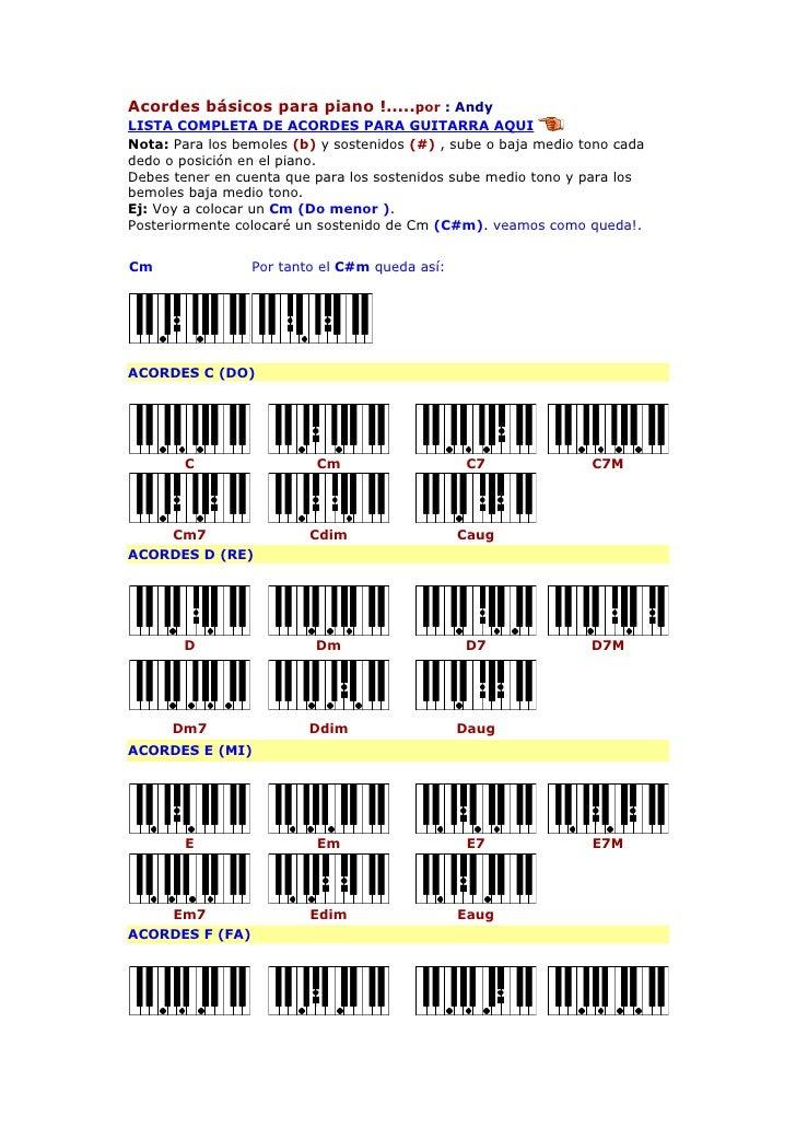 Acordes básicos para piano !.....por : Andy LISTA COMPLETA DE ACORDES PARA GUITARRA AQUI Nota: Para los bemoles (b) y sost...