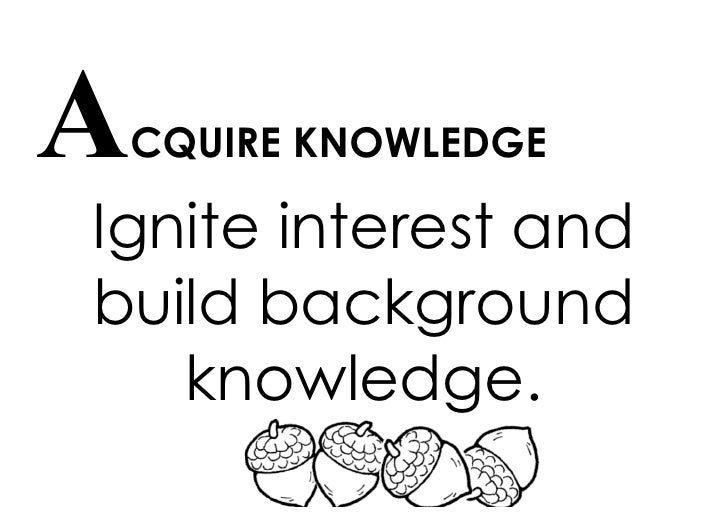 ACQUIRE KNOWLEDGE  Ignite interest and build background    knowledge.