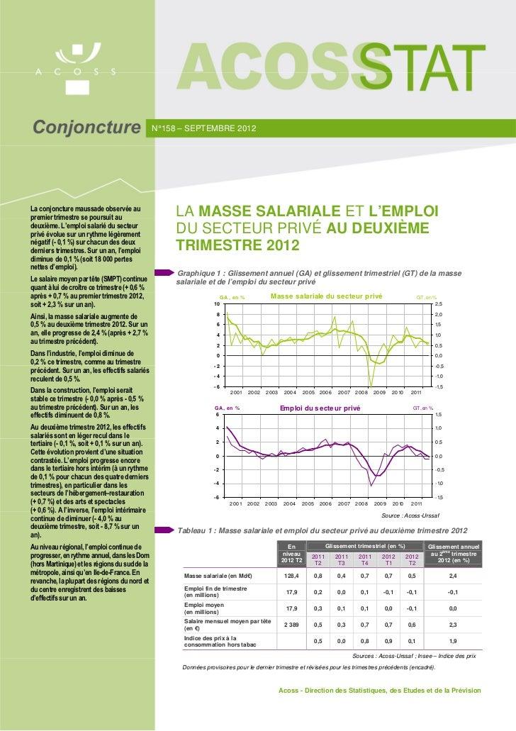 N° 158 – SEPTEMBRE 2012La conjoncture maussade observée aupremier trimestre se poursuit au                                ...
