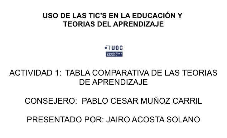 USO DE LAS TIC'S EN LA EDUCACIÓN Y             TEORIAS DEL APRENDIZAJE     ACTIVIDAD 1: TABLA COMPARATIVA DE LAS TEORIAS  ...