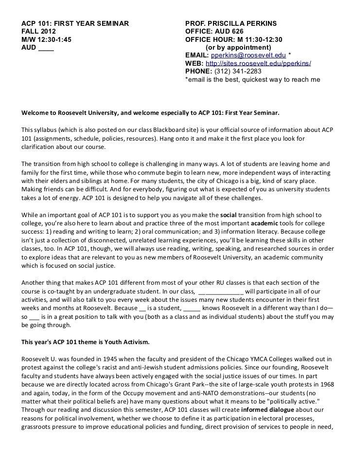 ACP 101: FIRST YEAR SEMINAR                                 PROF. PRISCILLA PERKINSFALL 2012                              ...