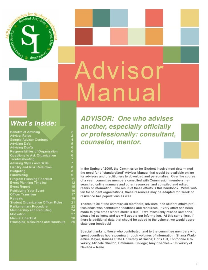 Advisor                                       Manual                                           ADVISOR: One who advises Wh...